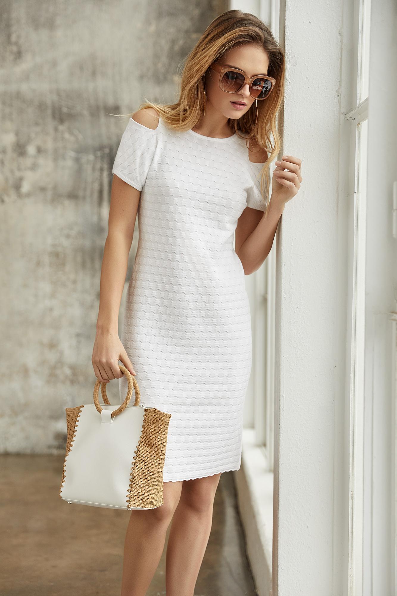 sukienka limosa, biała sukienka, elegancka sukienka, odkryte ramiona