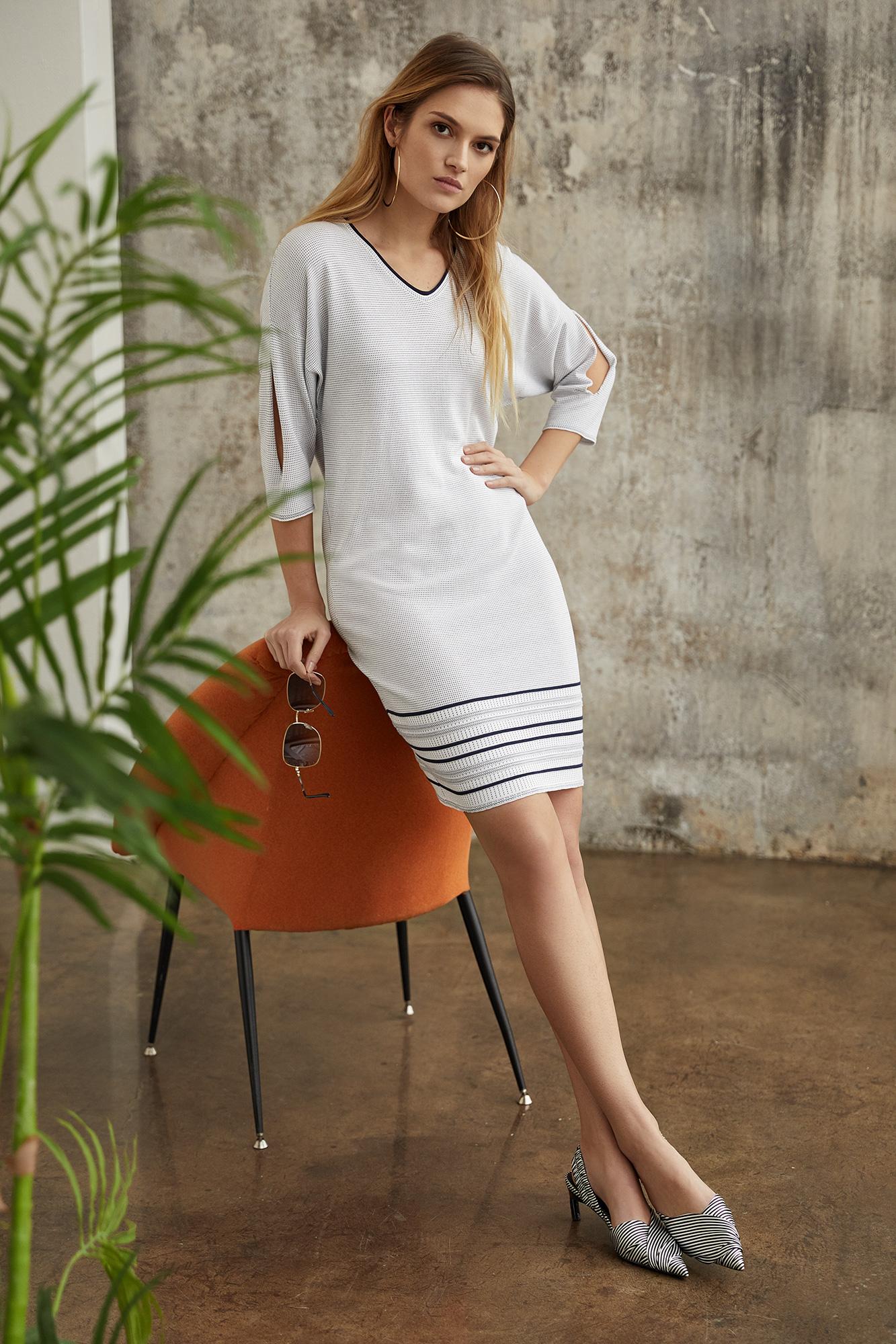 suknia solea, dzianina, biała sukienka