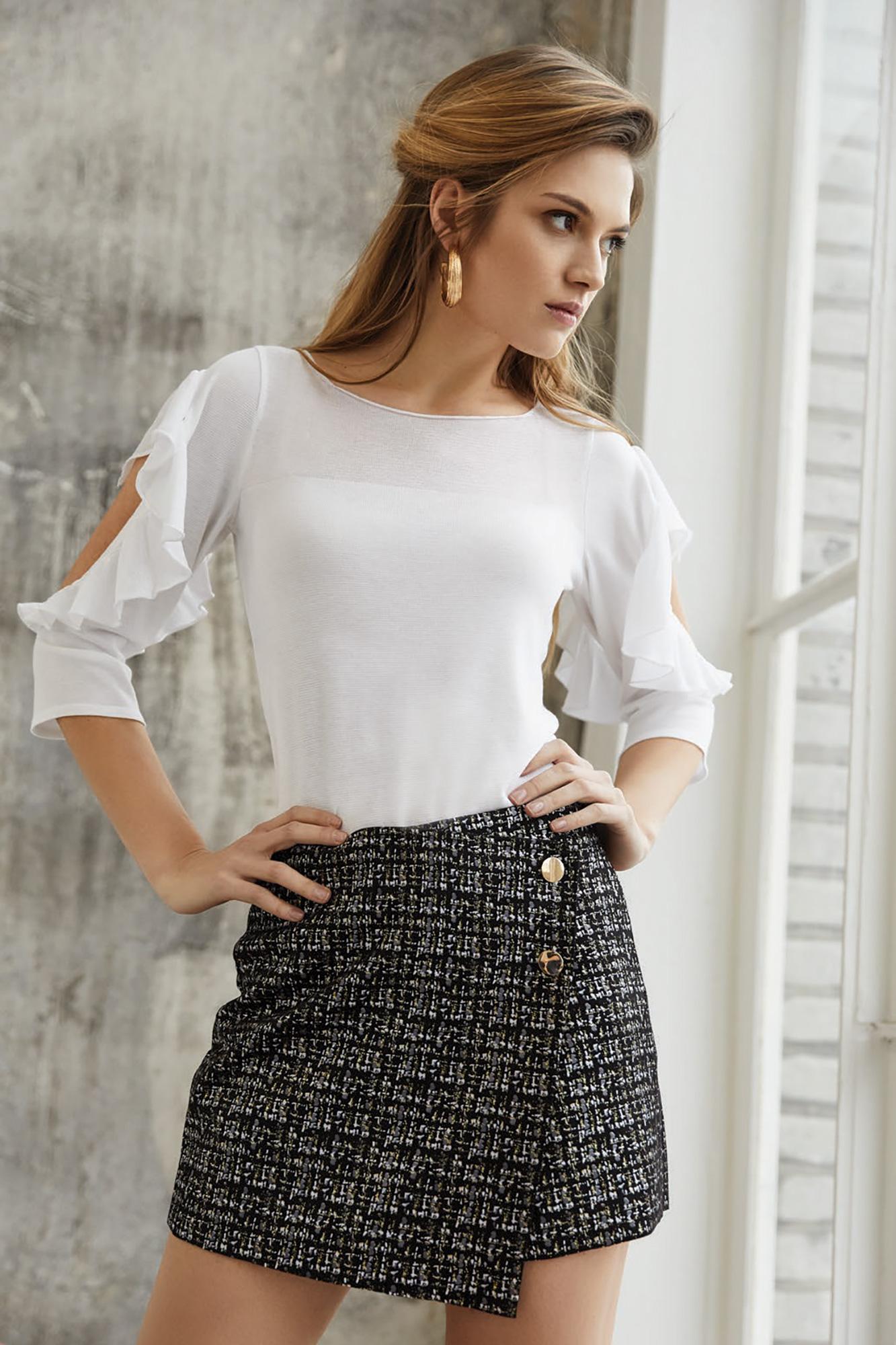 bluzka silvana, biała bluzka, dzianina, elegancka bluzka, spódniczka w kratę