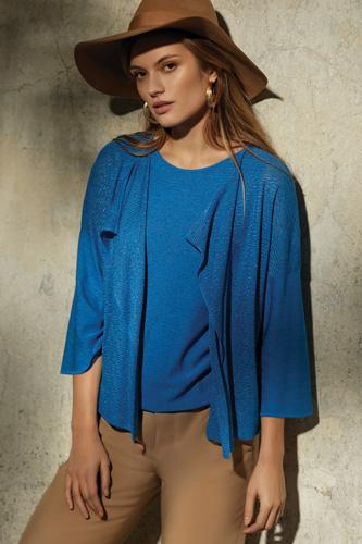 wdzianko tanora, top aida. niebieski sweter, dzianina, sweter, delikatna narzutka